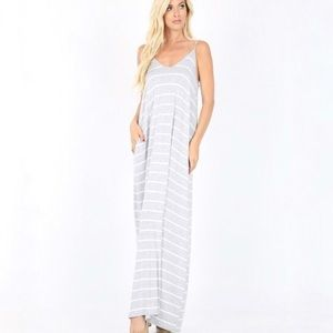 Dresses - Heather grey Pocket Maxi Dress